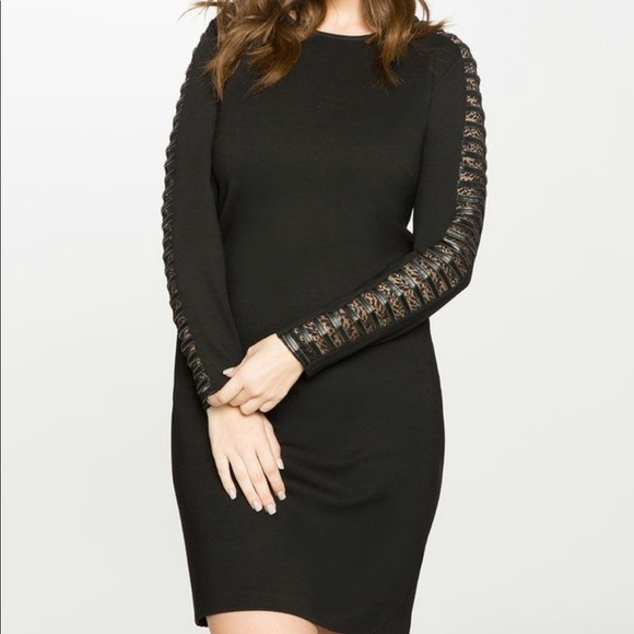 3c4b3ac5650 Eloquii Faux Leather and Lace Arm Detail Dress